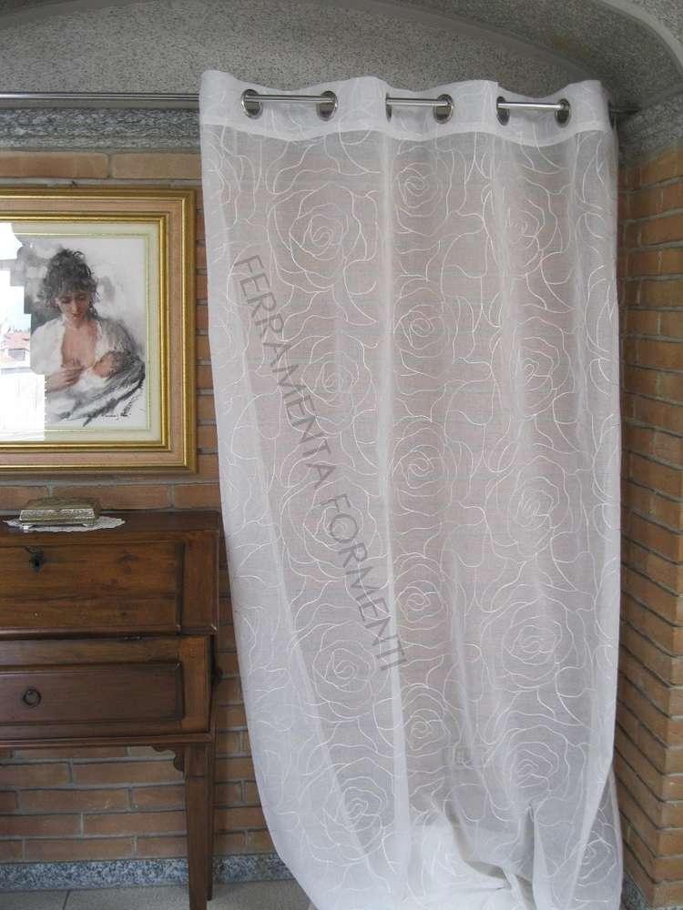 Tende Per Interni Con Anelli.Tenda Arredamento Casa Per Interni Bianca 1 Telo Con Anelli