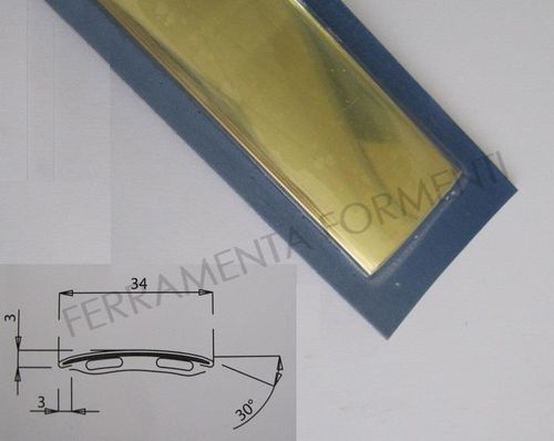floor adhesive profile straight line 34mm wide, 83 cm long, polished brass color