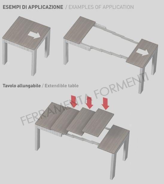 Omge 9346 35 coppia guide telescopiche in alluminio per consolle allungabile a tavolo - Guide per tavoli allungabili ...