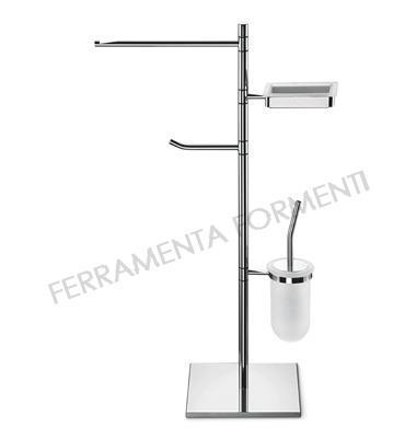 Free standing pole with soap, toilet roll and brush holders, towel holder cm 30, Valli Cut P 6168