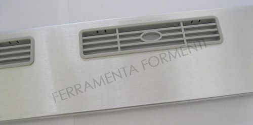 kitchen cabinet skirting in PVC, covered with brushed aluminum, with ventilation grids, h.12 x cm 60