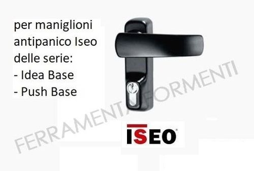 Outer handle with cylinder lock for Iseo panic device Idea Base and Push, color black