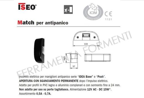 electric door release Iseo Match 5680000, for panic exit devices Idea Base or Push