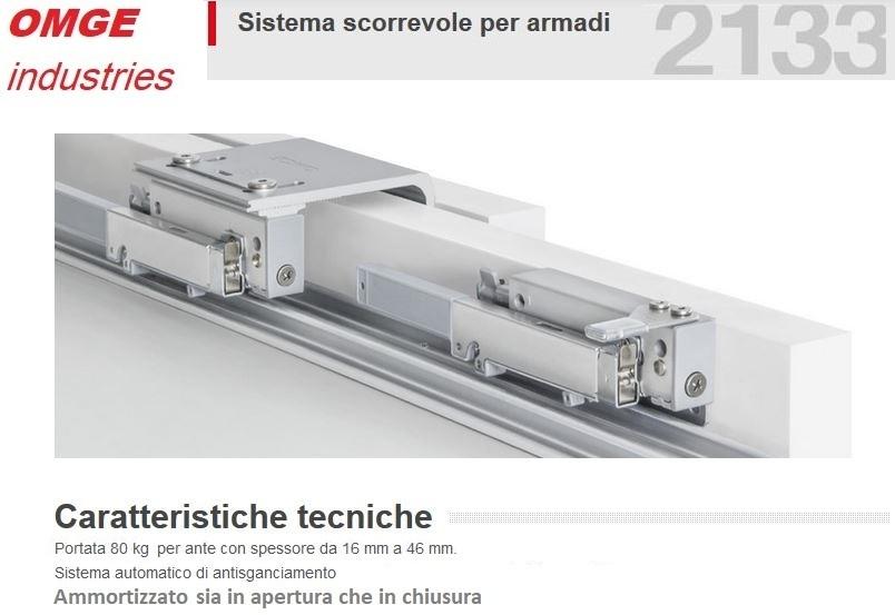Binari Per Ante Scorrevoli.Meccanismo Per Armadio 2 Ante Scorrevoli Spessore16 46mm Portata 80kg Binari Cm 200 Ammortizzato
