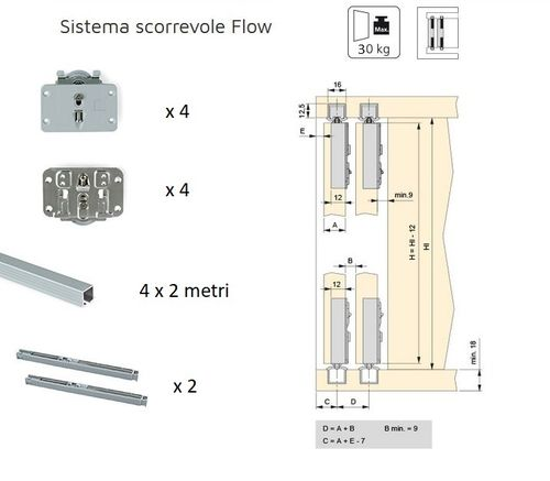 SHOCK-ABSORBED sliding system for wardrobe with 2 doors of 30kg each Flow Emuca, 200 cm rails