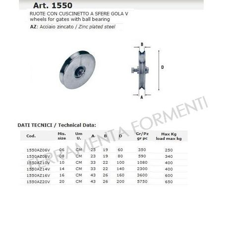 Sliding gate wheel, with ball bearing, V groove, galvanized, diameter 08 - 10 - 20mm