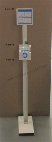 Free standing Gel dispenser holder, in painted metal, 121cm high, white color