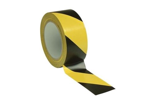 ADHESIVE SIGNAL TAPE with Black / Yellow stripes, h.5cm, 33 meters roll, spacing, floor