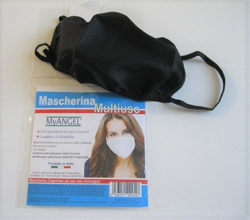 Washable 2-layer mask, double cotton, BLACK. made in Italy