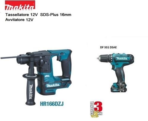 MAKITA - HR166DZJ rotary hammer + DF330DSAJ screwdriver, charger and 2 batteries 12V 2Ah